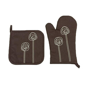 Canrulo Cotton Oven Mitts and Pot Holder Set High Heat Resistance Kitchen Oven Gloves for Christmas, Holiday, BBQ (Chocolate and Rose)