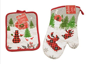 Kay Dee Design Festive Holiday Set of Matching Oven Mitt and Pot Holder