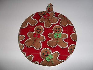 Gingerbread Man Christmas Pot Holders Heat Resistant Handmade Double Insulated Round 9 Inches
