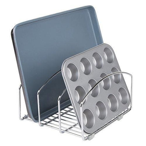 Decoformax Metal Wire Cookware Organizer Rack for Kitchen Cabinet, Pantry and Shelves - Organizer Holder with Three Slots for Cookie Trays, Muffin Tins, Bread Pans, Cutting Boards
