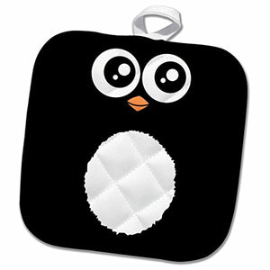 3D Rose Cute Black Cartoon-Kawaii Sweet Animal Square-Adorable for Kids and Children-Penguins Pot Holder 8 x 8,