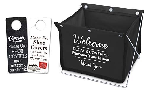 Foldable Shoe Cover Holder (Black) with Bonus Please Use Shoe Covers, Double Sided, Door Hanger