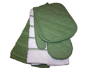 Green Stalk Kitchen Towel Set 5 Piece- Towels, Pot Holders, Oven Mitt
