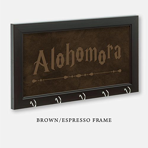"Harry Potter Inspired Alohomora Key Holder, Brown/Espresso Frame, 11-1/2"" x 6-1/2"" With 5 Hooks"