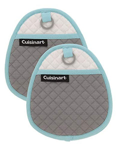 Cuisinart Quilted Silicone Pot Holders and Oven Mitts with Soft Insulated Pockets, 2pk - Heat Resistant Hot Pads, Potholder, Trivets with Non-Slip Grip to Safely Handle Hot Cookware - Drizzle Grey