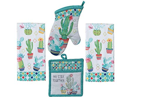 Kitchen Linen Set - Cactus Garden Design 4 Piece Bundle Includes 2 Terry Towels, 1 Oven Mitt, and 1 Potholder