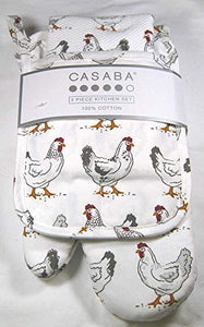 Casaba 3 Piece Kitchen Set- Kitchen Towel, Oven Mitt and Pot Holder Chickens