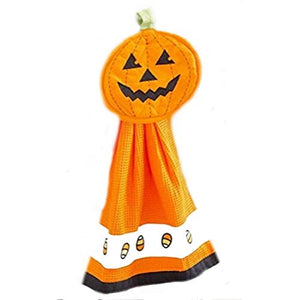 2 Piece Halloween Kitchen Accessories: Pumpkin Kitchen Towel and Pot Holder