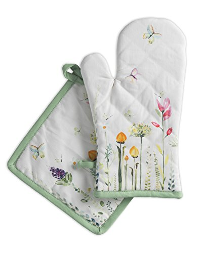 Maison d' Hermine Botanical Fresh 100% Cotton Set of Oven Mitt (7.5 Inch by 13 Inch) and Pot Holder (8 Inch by 8 Inch)