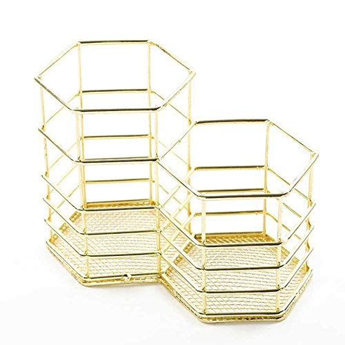 Aolvo Dual Hexagon Pencil Holder Pot Rose Gold Wire Mesh Pencil Holder - Japanese Metal Desk Pencil Holder Organizer Container Hollow Makeup Brushes Stationery Storage Basket
