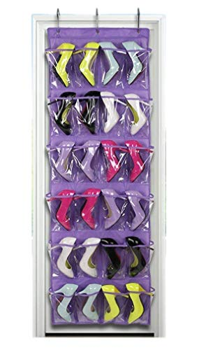 James Sports 24 Pockets Crystal Clear Over The Door Shoe Organizer Hanging Shoe Holder for Maximizing Shoe Storage and Shoes Rack