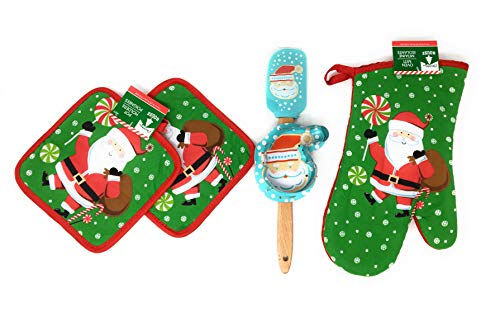 Christmas House Santa Claus Spatula and Oven Mitt Baking Bundle. Holiday Baking bundle includes one Santa scraper spatula, Santa Claus oven mitt, one Santa cookie cutter and two Santa pot holders.
