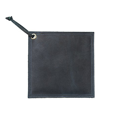 Hide & Drink Leather Hot Pot Pad (Potholder), Double Layered, Double Stitched and Handmade Slate Blue