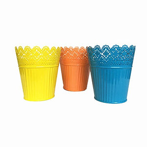 "Leoyoubei 6"" high Large 3 Pack Artificial Planters/Plant Pot or Make-up Pencil Holder or Candle Holder Metal-Pierced Flower Wedding Vase Home Decor (Yellow,Orange,Blue)"