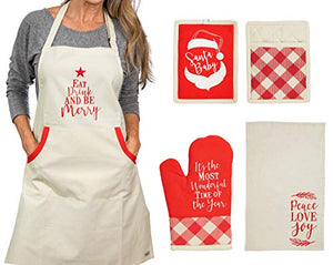 "Christmas Apron With Pot Holder, Oven Mitt and Kitchen Towel, Perfect Holiday for Mother, Sister, Aunt, Mother In Law"", Chrismas Kitchen Combo"