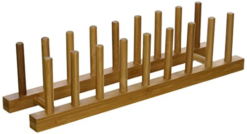 "Lipper International 887 Bamboo Wood Plate Rack and Pot Lid Holder, 15-3/8"" x 4-3/8"" x 4"""