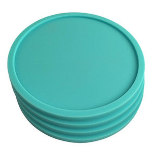 4 Teal Coasters - Silicone Rubber Lip Catches Drink Condensation and Spills - Safe Non-Slip for Dinner Table, Furniture, or Bar