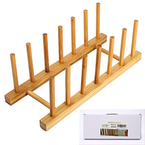 Bamboo Plate Rack For Cabinet With Gift Box, Kitchen Storage Holder Stand for Dish / Bowl / Pot Lid / Sheet Pans /Cutting Board by HTB (1 PCS)
