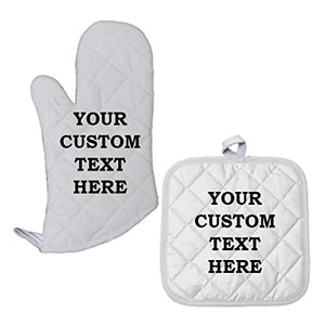 Custom Your Text Here Personalized Lettering Polyester Oven Mitt Pot Holder Set