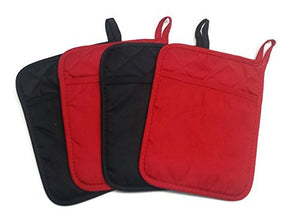Home Collection Set of 2 Red And 2 Black Neoprene Pot Holders