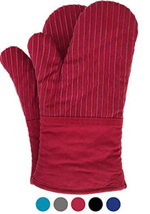 BIG RED HOUSE Oven Mitts, with the Heat Resistance of Silicone and Flexibility of Cotton, Recycled Cotton Infill, Terrycloth Lining, 480 F Heat Resistant Pair Red