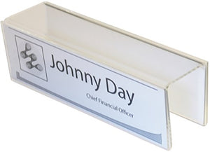 "2-Sided Name Plate Holders 8-1/2"" Wide x 2-1/2"" high x 2"" deep Hook - PNH2085025020 (40 Pack) - NamePlates fit a 2"" Cubicle"