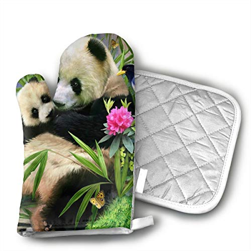 GUYDHL Unisex Oven Mitt and Pot Holder for Panda - 2 Pair