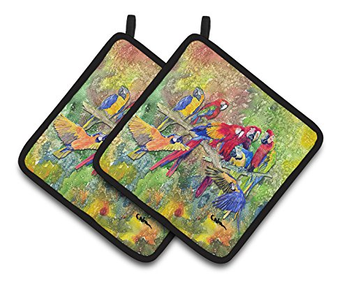 Caroline's Treasures Parrots Galore Pair of Pot Holders 8600-2PTHD, 7.5HX7.5W, Multicolor