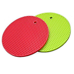 2 Set Silicone Trivets Mats Hot Pads Silicone Round Pot Holder Spoon Rests Set Hot Pan Mats Heat Insulation Table Mats(Green+Red)