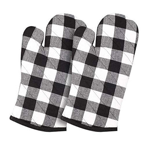 Cotton Clinic Gingham Buffalo Check 100% Cotton Oven Mitts Gloves Set of 2, Heat Resistant for Everyday Kitchen Cooking Baking BBQ - Black White