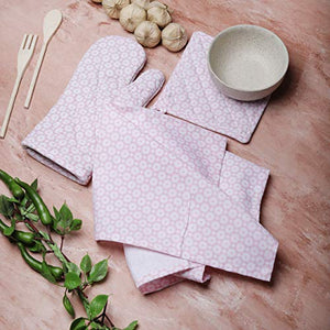 Kitchen Linen Set Consists of a Oven Mitt,Pot Holder & Kitchen Dish Towel Made of 100% Cotton with Heat Proof Quilt Ideal 3 Piece Gift Set by Mermaidia-Baby Pink