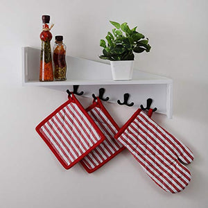 Cotton Oven Mitten and Pot Holders, 3 Piece Set, Red & White Stripe For Everyday Use