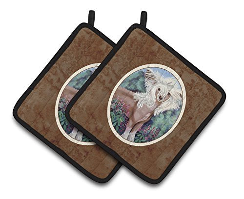 Caroline's Treasures Chinese Crested Pair of Pot Holders 7052PTHD, 7.5HX7.5W, Multicolor