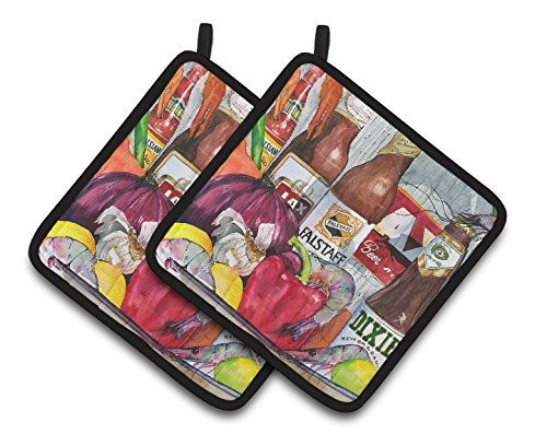 Caroline's Treasures New Orleans Beers & Spices Pair of Pot Holders 1017-1PTHD, 7.5HX7.5W, Multicolor