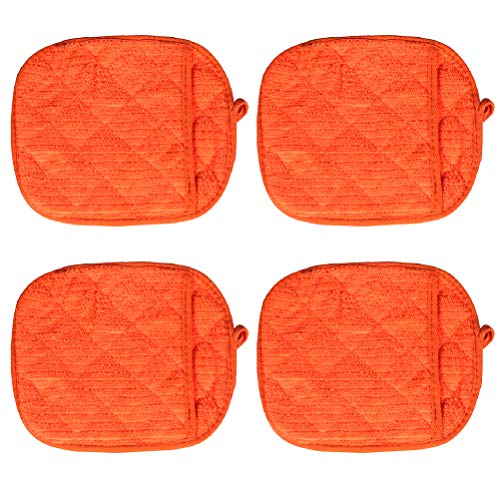 BESTONZON 4 Pcs Oven Gloves Thicken 2 in 1 Anti-Scald Insulation Microwave Oven Mitt Pot Holder Set (Orange)