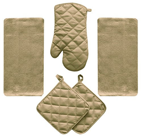 5 Piece Tan Beige Kitchen Linen Towel Set Solid Colors Heavy Weight Cotton With Potholder Oven Mitt