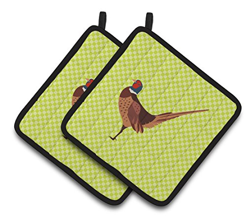 "Caroline's Treasures BB7756PTHD Ring-necked Common Pheasant Green Decorated Pot Holder, 7.5"" x 7.5"","