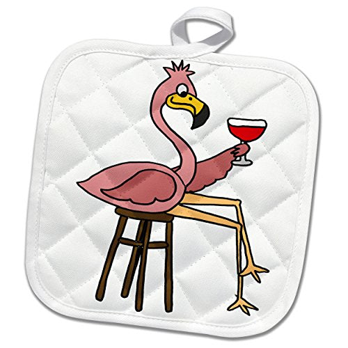 3D Rose Funny Pink Flamingo On Bar Stool Drinking Red Wine Pot Holder, 8 x 8