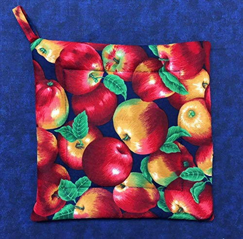 Apples Green Leaves Square Pot Holder Hot Pad Trivet