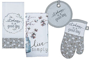 Kitchen Linens Set: Bundle Includes 1 Oven Mitt, 1 Potholder, 2 Kitchen Towels - Live Simply and Today is a Good Day Designs by Lisa Audit