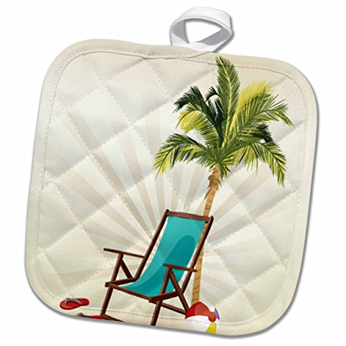 3D Rose One Palm Tree with A Beach Lounge Chair and Flip Flops Design Pot Holder, 8 x 8