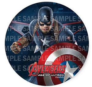 "Avengers Captain America Birthday Edible Image Photo 8"" Round Cake Topper Sheet Personalized Custom Customized Birthday Party"
