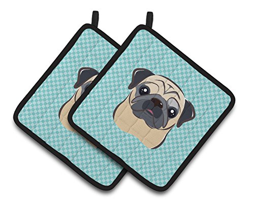 Caroline's Treasures Checkerboard Blue Fawn Pug Pair of Pot Holders BB1200PTHD, 7.5HX7.5W, Multicolor