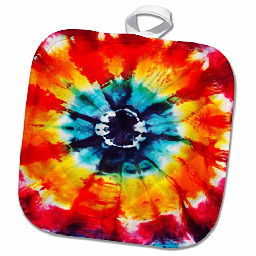 3D Rose Multi-Colored Tie-Dye Pattern Pot Holder, 8 x 8, Red