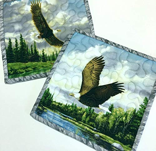 Handmade Pot Holders Eagles in Flight Hot Pads Quilted (Set of 2)