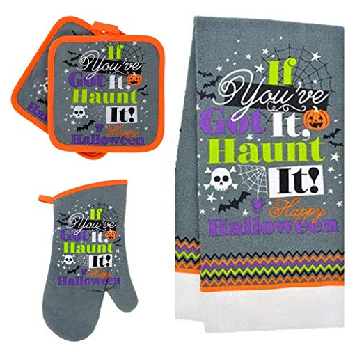 GBI Happy Halloween Oven Mitts, Pot Holders and Halloween Hand Towels Set