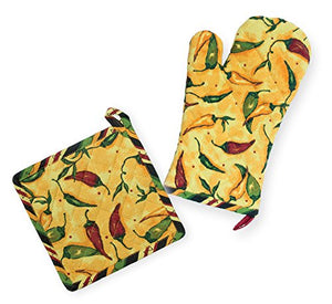 Celebrate the Home URB18528 Mitt and Potholder, Pepper Toss Oven Mitt & Pot Holder Set