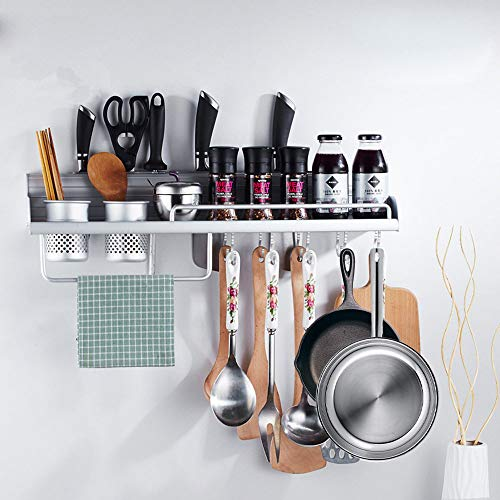 FociPow Kitchen Wall Pot Rack, Aluminum Wall Hanging Shelf Cookware Organizer Wall Mounted Pot Pan Rack With 8 Hooks, 4 Knife Slots, and 2 Utensil Cups Fit for Kitchen Restaurant Bar Bathroom