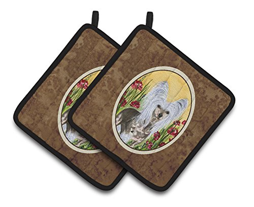 Caroline's Treasures Chinese Crested Pair of Pot Holders SS8185PTHD, 7.5HX7.5W, Multicolor