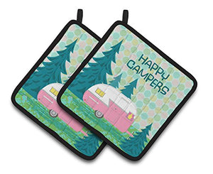 Caroline's Treasures Happy Campers Glamping Trailer Pair of Pot Holders VHA3004PTHD, 7.5HX7.5W, Multicolor